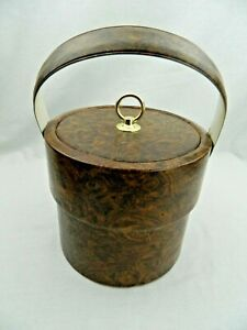 Brown Wood Grain And Leather Look Ice Bucket Carrier Bin Container Vintage