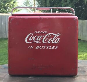 Vintage 1950's Coca-Cola Ice Chest / Cooler With Tray