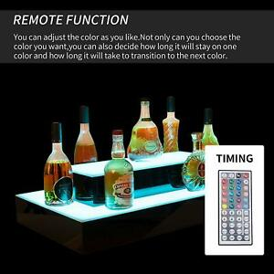31 2 Layer Island Liquor Bottle Display Shelf Led Lighted Color Changing W Rc