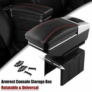 Universal Car Center Armrest Box Pu Leather Container Storage Case Black Red