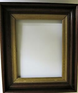 Walnut Frame Antique Deep Double Recessed With Gold Gilt Mat Fits 8 X 10