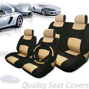 Car Truck Suv Seat Covers Set Premium Black Tan Synthetic Leather For Nissan