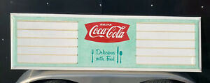 Vintage Coca Cola Menu Board Sign Metal Bottle Cap Button Food Restaurant Diner