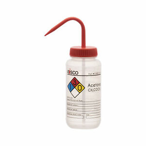 Acetone Wash Bottle 500ml Wide Mouth Pre labeled Ldpe Eisco Labs