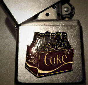 Zippo -  COKE -  COCA COLA - 3D 80's RETRO EMBLEM - Crate Of Bottles