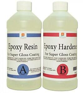 Epoxy Resin Crystal Clear 32 Oz Kit For Super Gloss Coating And Tabletops