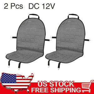 2pcs Universal 12v Heated Front Car Seat Cover Cushion Heater Warmer Pad Gray