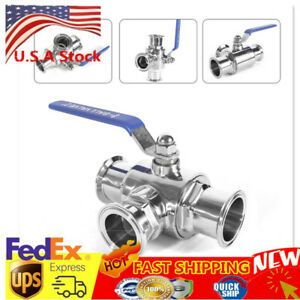2 Sanitary Stainless 304 Three Way Ball Valve Tri Clamp Connection T Type Sale