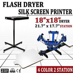 4 Color 2 Station Silk Screen Printing Machine Press Flash Dryer Equipment Diy