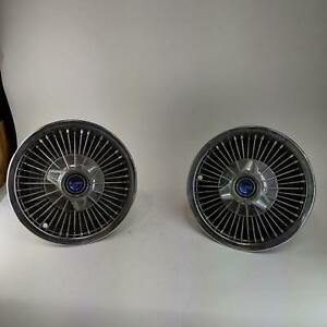 Vintage 14 Ford Mustang Galaxie Fairlane Hubcaps With Spinner Wire Spoke Style
