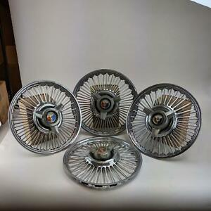 Ford Mustang 14 Hubcaps 1965 1966 Vintage Wire Spoke With Spinner Wheel Cover