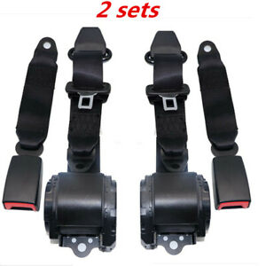 2x Universal 3 Point Retractable Seat Belt Fit For Jeep Cj Yj Wrangler 1982 1995