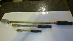New Snap On Red 3 Piece Flex Head Ratchet Set 1 4 3 8 And 1 2 Inch Drives New