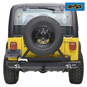 Eag Rear Bumper With Tire Carrier Rock Crawler Fit 1987 2006 Jeep Wrangler Yj Tj