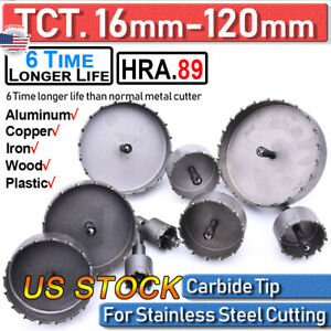 16 120mm Carbide Tip Tct Drill Bit Hole Saw Stainless Steel Metal Alloy Cutter