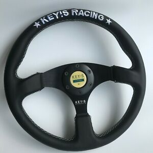 350mm Key s Leather Flat Steering Wheel For Omp Hub Momo Drifting Nrg Racing