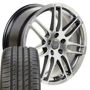 18 Rims Tires Fit Audi Rs4 Style Hyper Silver Wheels 66 6 Ironman Tires