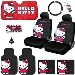 For Kia 10pc Hello Kitty Core Car Truck Seat Covers Mats Accessories Set