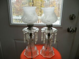 Vintage Clear Glass Pair Boudoir Lamps W Frosted Etched Shades