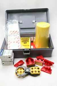Brady Portable Lockout Kit Filled Electric Lockout Tool Box Gray