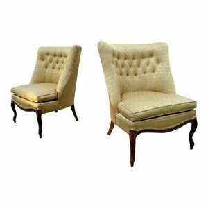 Vintage 1960 S Mid Century Gold Tufted Lounge Slipper Chairs Hollywood Regency
