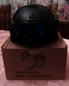 New Mich 2002 Airsoft ABS Tactical Helmet: Goggles Included