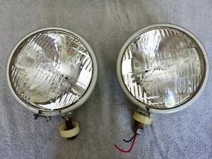 Pair Of Vintage Auto Fog Or Driving Lights Grote 542 Sae H 69
