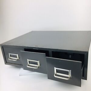 Vintage Gray Metal Industrial 3 Drawer Card File Filing Cabinet Library 22 X 6