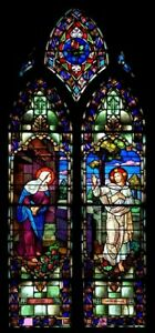 Antique Gothic Church Religious Stained Glass Window Depicting Jesus Christ