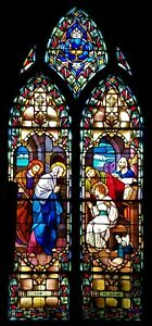 Antique Gothic Church Stained Glass Window Child Christ Teaches In The Temple