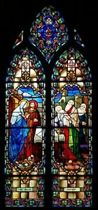 Antique Church Stained Glass Window Presentation Of Infant Jesus In The Temple