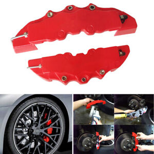 4pcs Red Color Style 3d Car Universal Disc Brake Caliper Covers Front
