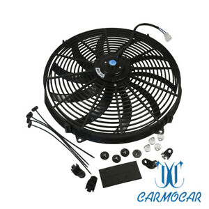 12v Universal 16 Inch Slim Fan Push Pull Electric Radiator Cooling W Mount Kit