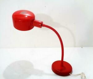 Vintage Mid Century Danish Modern Red Gooseneck Table Desk Light Lamp