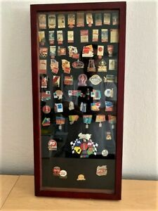 Coca-Cola Olympics & NASCAR Framed Pin Set w/Rare Early Olympic Pins (61 total)