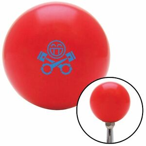 Blue Smiley Pistons Red Shift Knob W M16x1 5 Insert Shifter Auto Manual Custom