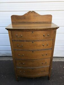 Antique Golden Oak Tall Chest Of Drawers With Back Splash