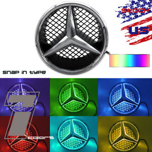 Sport 7 Colors Car Led Front Grille Logo Emblem Light For Mercedes Benz C Class