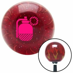 Pink Grenade Red Flame Metal Flake Shift Knob W M16x1 5 Insert Shifter Auto