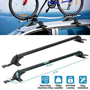 Universal 43 roof Rack Cross Bar Cargo Carrier W Anti theft Lock System For Car