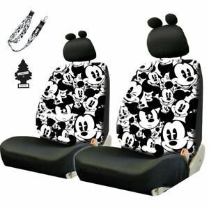Disney Mickey Mouse Sideless Car Seat Covers Set With Fun Ears Headrest Covers
