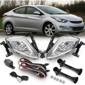 Upgrade Fog Lights Lamp Clear Harness Pair Replacement For 2011 2013 Elantra Us