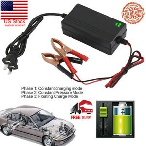 Portable 12v Auto Car Battery Charger For Trickle Maintainer Boat Motorcycle Usa