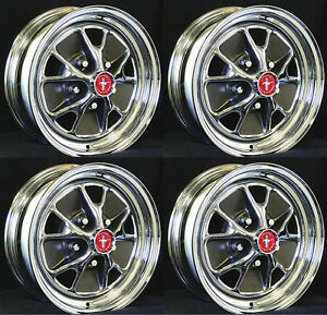 New Ford Mustang Styled Steel Chrome Gt Wheels 14 X 7 Set Of 4 Complete Caps