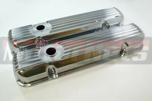 Pontiac Retro Finned Polish Aluminum Valve Cover 326 350 389 400 455 V8 Hot Rod