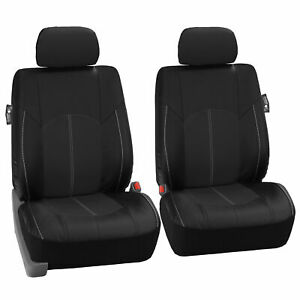 Faux Leather Front Car Seat Covers Set Luxury Black For Car Truck