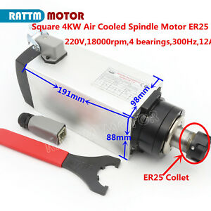 4kw Air Cooled Er25 220v Square Spindle Motor 12a 18000rpm 300hz For Cnc Router