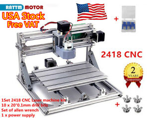 us Stock 3 Axis Cnc2418 Router Usb Port Wood Pcb Milling Diy Mini Laser Machine
