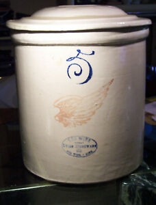 Red Wing 5 Gal Large Wing 6 Ski Oval Stoneware Crock Rw Bar Petal Lid Nice