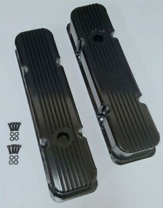 Fabricated Black Aluminum Finned Small Bock Chevy Valve Covers Sbc 283 350